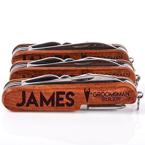 Set of 3 - Personalized Pocket Knife, Personalized 8-Function Multi-Tool Pocket Knife, Custom Knives, Engraved Names, Groomsmen Gift, Gift for Him (Pocket Knife Set Of 3)