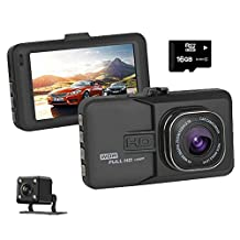 Full HD 1080P 3.0'' Car Dual Dash Cam Recorder, Front and Rear DVR Dashboard Camera with Night Vision, Audio Recording Dashcam, G-Sensor, Parking Mode & Loop Recording.16 GB SD Card and Wire Clips included.