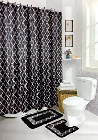 Black Diamond 15 Piece Bathroom Set: 2 Rugs/mats, 1