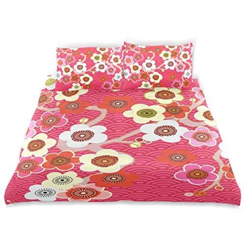 KVMV Japanese Pattern Cherry Blossom Ornament Oriental Duvet Cover Set Design Bedding Decoration King 3 PC Sets 1 Duvets Covers with 2 Pillowcase Microfiber Bedding Set Bedroom Decor Accessories