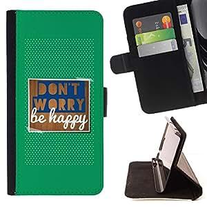 For Samsung Galaxy S3 III i9300 i747 Case , No se preocupe sea feliz Citar Texto Verde- la tarjeta de Crédito Slots PU Funda de cuero Monedero caso cubierta de piel