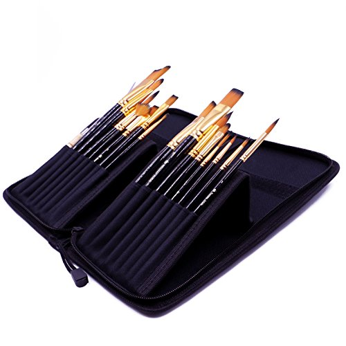 Premium Artist Paint Brush Set, Watercolor, Acrylic, Oil, Great for Artists and Kids, Professional Brushes in Zippered Travel Case (Zip Nouveau Back)