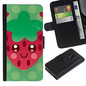 Billetera de Cuero Caso Titular de la tarjeta Carcasa Funda para Samsung Galaxy S3 MINI NOT REGULAR! I8190 I8190N / strawberry red green heart summer love / STRONG