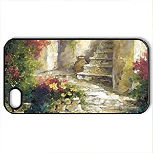 Backdoor Steps - Case Cover for iPhone 4 and 4s (Watercolor style, Black)