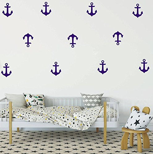 YOYOYU Set of 48 Anchor Pattern Wall Sticker Vinyl Sailing Nautical Wall Decal- Kids boys Room Interior Home Decoration Mural (Dark Blue) (Nautical Wall Stickers)