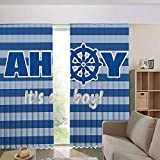 Children's Room Curtains Thermal Insulated BlackoutCurtain Window Curtains,Birth Announcement Marine Wheel Striped Backdrop 84Wx63L Inch
