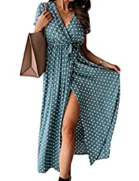 Cotrio Women Summer Dress Boho Floral Printed Wrap V Neck Short/Long Sleeves Casual Maxi Bohemian Beach Party Dresses