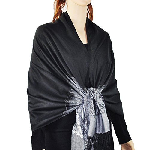 Women Ornate Abstract Pattern Pashmina Shawl with Color Gradation Fringes (Black)