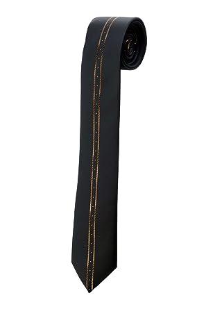 Oh La Belle Cravate Corbata Fine (satén negro rayas, marrón Design ...