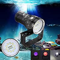 Scuba Diving LED Flashlight 10x XM-L2+4x R+4x B 12000LM LED Scuba Diving Underwater 100M Video / Camera Photography (Black)