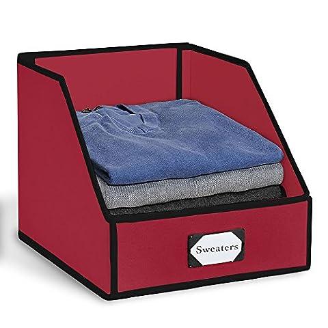 G.U.S Closet Shelf Storage Bin To Organize Sweaters, Jeans and Shirts - Red with Black Trim - Above Storage Bed Sets
