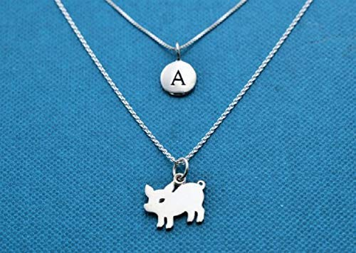 Layered Necklace Set: Little Girl's Tiny Pig Necklace and Initial Disk in Sterling Silver on Sterling Silver Chains. Piggy. Piglet necklace.