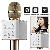 Toygully Microphone Karaoke Wireless Bluetooth Ktv Speaker Mic Player Handheld Mini Professional New Dynamic Gold Q7 Micgeek (Gold)