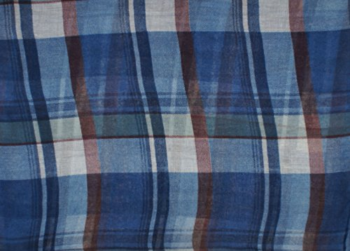 Vivian & Vincent Soft Light Elegant Solid Plaid Check Sheer Infinity Scarf Blue