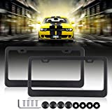 #4: Car Licenses Plate Covers Aluminum License Plates Frames with Screw Caps 2 Pcs 2 Holes Black Powder Coated Plate Cover Frame Shield Combo