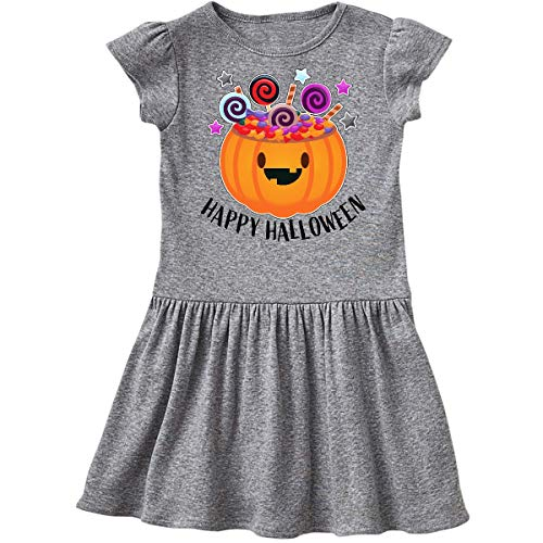 inktastic - Happy Halloween-Cute Pumpkin with Toddler Dress 5/6 Heather Grey -