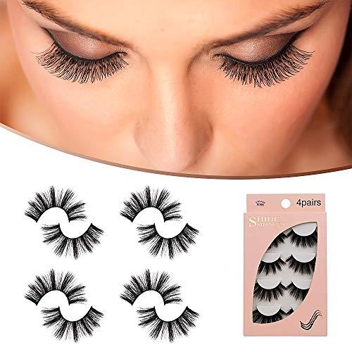 STYLEAGAL False Eyelashes - 4 Pairs Multipack Natural 3D False Eyelashes Natural Thick Hand-Made Faux Mink Eyelashes Extension(G106)
