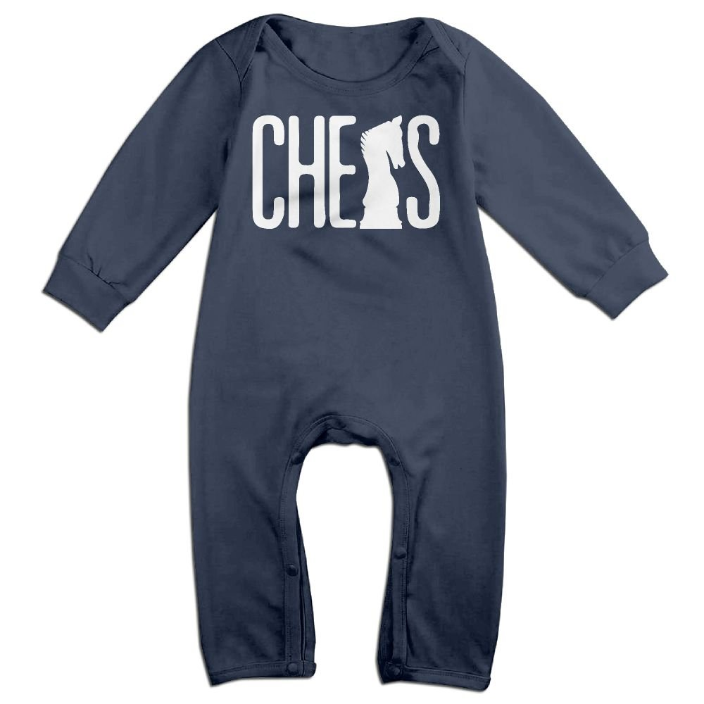 Mri-le1 Toddler Baby Boy Girl Organic Coverall Chess Silhouette-1 Infant Long Sleeve Romper Jumpsuit