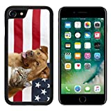 MSD Apple iPhone 8 Case Aluminum Backplate Bumper Snap Case Image ID: 4904845 Proud American Pets with US Flag in as Background Focus on cat