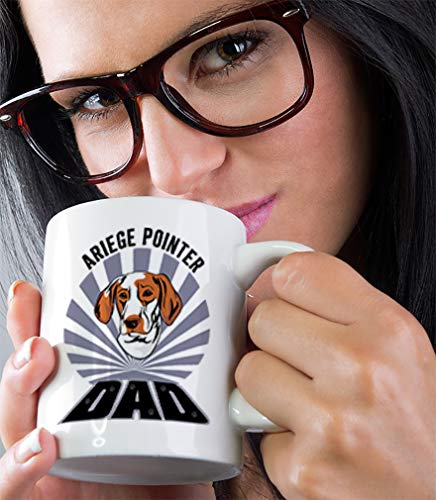 Custom Funny Coffee Mug Coffee Cup Dad Ariege Pointer Dog White Ceramic Tea Cup 11 OZ Design Only 6
