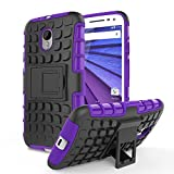 Moto G 3rd Gen Case - MoKo Heavy Duty Rugged Dual Layer Armor with Kickstand Protective Cover for Motorola Moto G 3rd Gen 2015 Smartphone, PURPLE (Not for Moto G Previous Generations)
