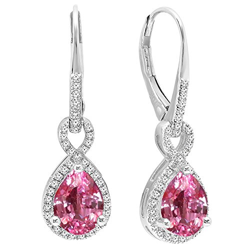 Dazzlingrock Collection 10K 8X6 MM Each Pear Lab Created Pink Sapphire & Round Diamond Ladies Dangling Earrings, White Gold ()
