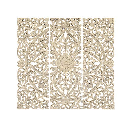 - Benzara Floral Hand Carved Wooden Wall Plaque, Set of Three, Antique White