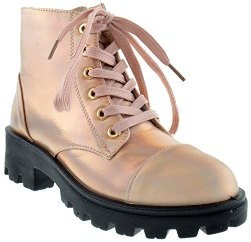 Tread 14m Womens Lace Up Combat Boots Rose Gold Holographic Metallic (Bamboo Lace Up Boots)