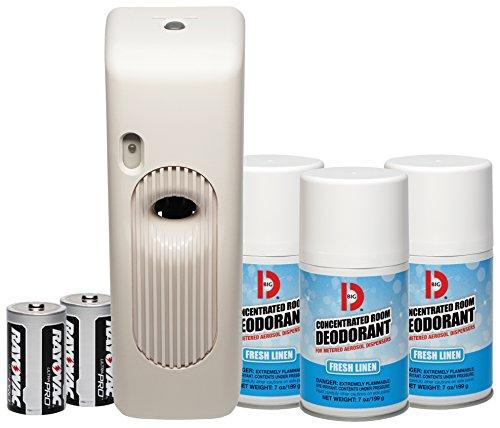 Big D 872 Metered Aerosol Starter Kit, Fresh Linen Fragrance (Contains Dispenser, 2 Batteries, 3 Aerosol Cans) - Air freshener ideal for restrooms, offices, schools, restaurants, hotels, stores