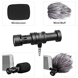 Comica CVM-VS08 Video Microphone - Professional Mini Cardioid Condenser Directional Shotgun Portable Phone Mic for Smartphone / iPhone / iPad / Samsung / Huawei etc with Wind Muff and Windscreen