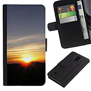 iBinBang / Flip Funda de Cuero Case Cover - Sunset Beautiful Nature 117 - Samsung Galaxy Note 4 SM-N910