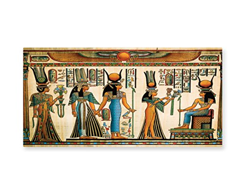 Lunarable Egyptian Wall Art, Egyptian Papyrus Depicting Queen Nefertari Making an Offering to Isis Image Print, Gloss Aluminium Modern Metal Artwork for Wall Decor, 23.5 W X 11.6 L Inches, (Isis Costume Funny)