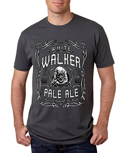 (Wild Bobby White Walker Pale Ale | GoT Alcohol Parody | Mens Pop Culture Tee Graphic T-Shirt, Charcoal, Large)