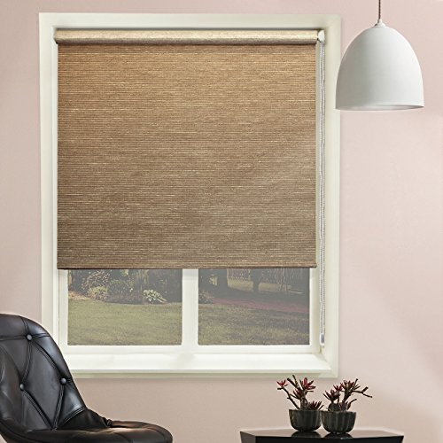 Chicology Continuous Loop Beaded Chain Roller Shades / Window Blind Curtain Drape, Natural Woven, Privacy - Candyfloss Latte, 31
