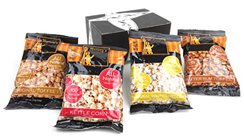 - Harvey's Popcorn 4-Flavor Variety: One 2 oz Bag Each of Original Toffee and Butter Rum Toffee, and One 0.75 oz Bag Each of Natural White Cheddar and Kettle Corn in a BlackTie Box (4 Items Total)