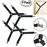 4 pack Triangle Sheet Band Straps Suspenders Adjustable Fitted Bed Sheet Corner Holder Elastic Straps Fasteners Clips Grippers Mattress Pad Cover Fitted Sheet Bed Suspenders HEAVY DUTY (4 pack(black))