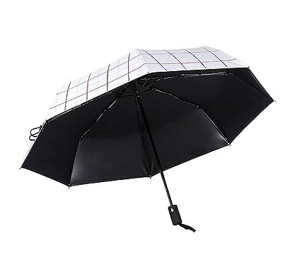 XnZLXS-paraguas viajes Simple Men Ms Umbrella Windproof Anti-UV Black Glue Travel Umbrella