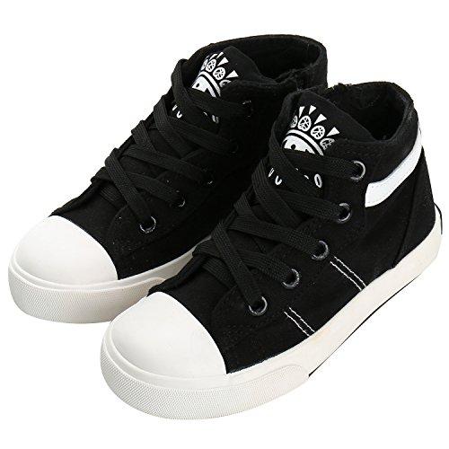 Alexis Leroy Zapatos de Entrenamiento de Lona con Cremallera Para Unisex-Niños Negro