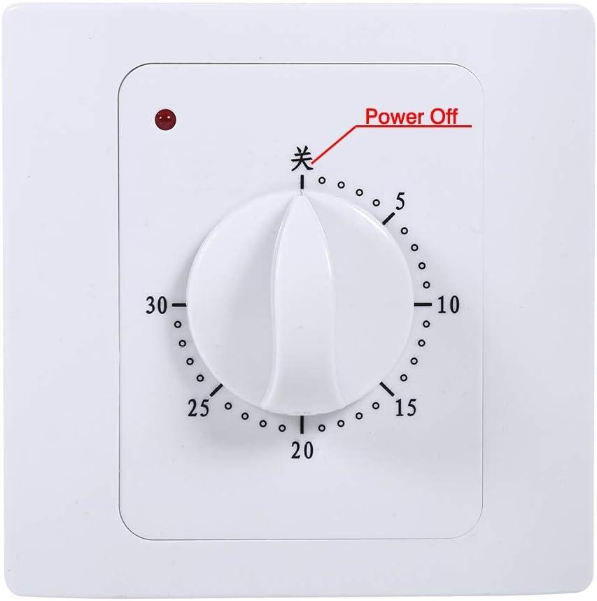 30 Min CA 220V 10A /Électrique Num/érique Temps Interrupteur De Commande De Contr/ôle Minuterie Prise Bouton Style Commutateur M/écanique Couleur : Blanc Commutateur De Compte /À Rebours