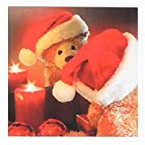 Christmas Teddy Bear in Santa Hat, Candle and Reflection- Greeting Card, 6 x 6 inches, single (gc_164732_5)