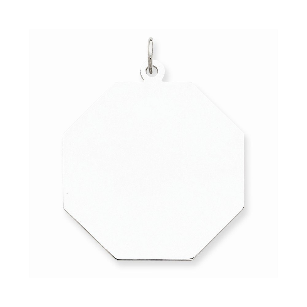 Mireval Sterling Silver Engravable Octagon Disc Charm on a Sterling Silver Chain Necklace 16-20