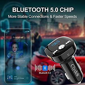 51nAUjDZ%2BOL. SS300  - Bluetooth-FM-transmitter-Clydek-Bluetooth-receiver-hands-free-calling-radio-adapter-car-charger-with-Bluetooth-42-2-USB-ports-power-off-and-music-player