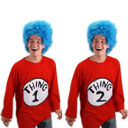 Dr Seuss Characters Costumes Ideas - Thing 2 Adult Costume Kit Size: Small / Medium
