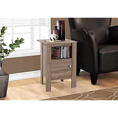 Monarch Specialties I 2136 Accent Table Night Stand With Storage Dark Taupe