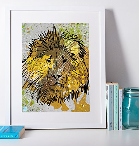 Colorful Zoo Animal - Lion Poster - Great for a Kids Room / Cute / Pop Art / Modern Design / Colorful / Vibrant / Zoo Animal / Africa