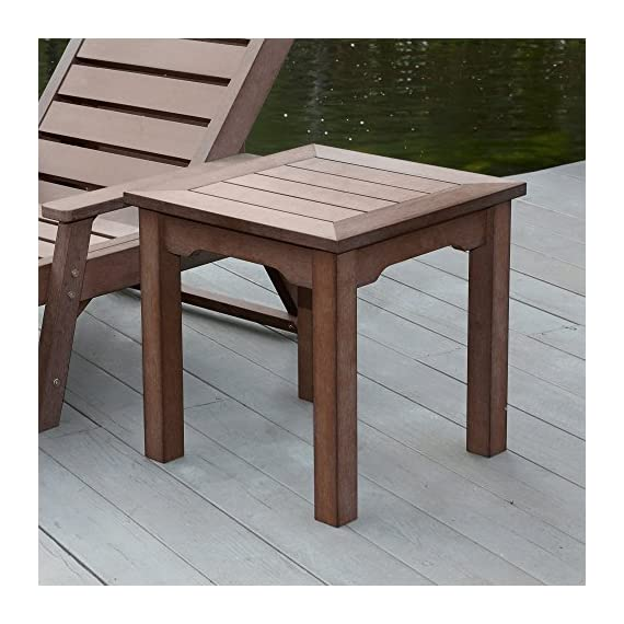 Shine Company 7107CB Square End Side Table, Chateau Brown - Composed of recyclable, High-Density resin designed for home or commercial use Durable construction with wood-grain textures resembling real wood Usable in all weather conditions, with a UV-protected, scratch resistant surface that will not peel, chip, warp, or splinter - patio-tables, patio-furniture, patio - 51nAV8SujeL. SS570  -