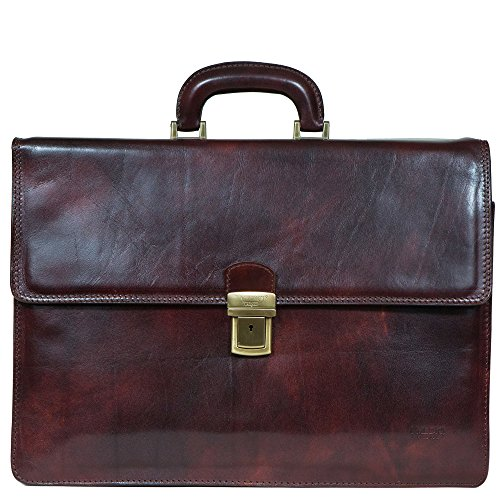 I Medici Lorenzo Italian Triple Compartment Briefcase, Business Bag in Chocolate