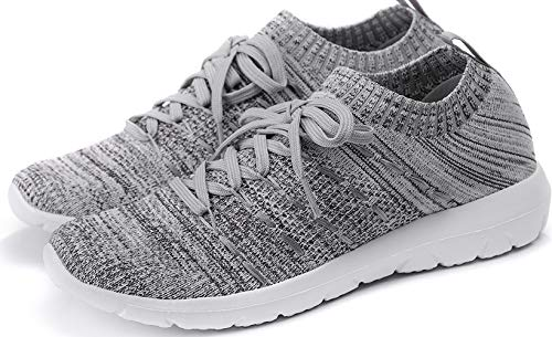PresaNew Women's Athletic Walking Sneakers Lightweigh Casual Mesh Comfortable Walk Shoes White/Grey