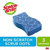 Scotch-Brite Scrub Sponge, 3 Pack, Non Scratch Scrub Dots, Multipurpose, Rinses Clean, Dish Scrubber