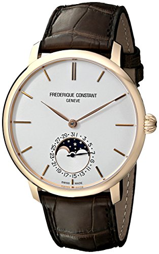 Frederique Constant Men s FC705V4S9 Slim Line Automatic Moon Phase Watch with Brown Leather Band